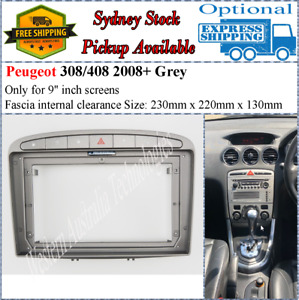 For 9 Nine Inch Screen Fascia Fits Peugeot Grey 308 2007-2013 408 2011+*