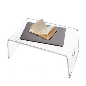 Clear Laptop Stand for Home Office - Acrylic Bed Tray with Handles   Made in USA
