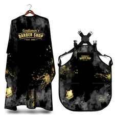 SET OF BARBER SALON CAPE and APRON GOLD RAZOR  HAIR CUTTING HAIRDRESSER GOWN