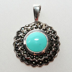 GENUINE BLUE TURQUOISE MARCASITE PENDANT NECKLACE 925 STERLING SILVER + CHAIN