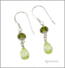 925 Silver Dangle Drop Earrings w/CZ Apple Green #65399