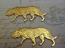 Raw Solid Brass Tiger Stampings (2) - S3860 Jewelry Finding