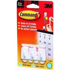 60 Pk 3M White Command Micro Utility Adhesive Hook Holder 3 Hooks/Pack 17066