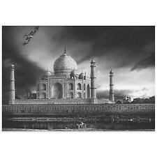 Taj Mahal Image Architecture Wall Art Monochrome Photography on Metal