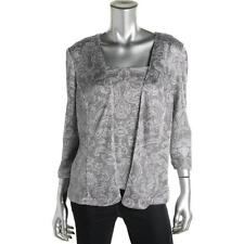 ALEX EVENINGS Silver Metallic 2PC Tank Top Shirt & Jacket Cardigan Set  L - NEW