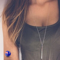 Women Lady Boho Bohemia Bar Fine Simple Slim Party Long gold or silver Necklace