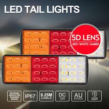 Pair 12V LED Tail Lights 120LED ADR Approve Fit Caravan Trailer Truck Ute Boat
