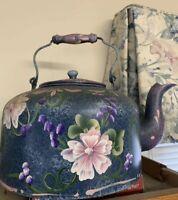 LOT Hand Painted Vintage Pots Kitchen Metal Iron steel Blue Pink Purple Flowers