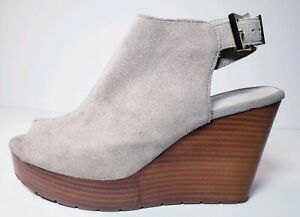 KENNETH COLE New York Octavia Suede Peep Toe Tan Wedge Sandals Shoes! Size 8.5