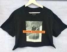 Women's~Juniors~Justin Timberlake~Cropped Black Tshirt~Man Of The Woods~Size L
