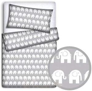 2PC BABY BEDDING SET 120x90 PILLOWCASE DUVET COVER FIT COT Elephants on grey