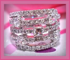 ❤️925 CC Sterling Silver Cubic Zirconia CZ Multi 5 Row Ring Sz 7 Highway Evine❤️