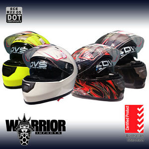 Full face road helmet, adult sizes, various colours, AS/NZS1698, dual visor, DVS
