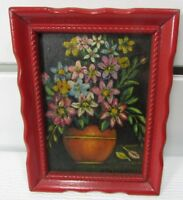 Vintage Framed Oil Painting On Board A. PATERNOSTRO Flowers In Vase