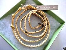 CHAN LUU Bracelet Beaded Triple Wrap  Facet Quartz Agate Stones Gold Leather NWT