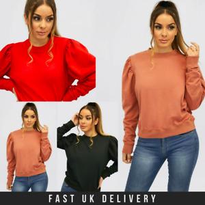 New UK Womens Ladies Plain Puff Sleeve Jumper Pullover Crew Neck Sweatshirt Top
