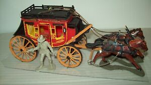 Hard plastic factory painted, two horse hitch Western Stagecoach, Britain's ?