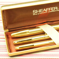 VINTAGE SHEAFFER GOLD IMPERIAL TRIUMPH CROWN FOUNTAIN PEN PENCIL BP TRIO BOX-SET