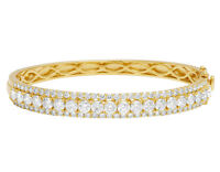 <p>Ladies 14K Yellow Gold Real 20 Pts Solitaire Real Diamond Bangle Bracelet ...