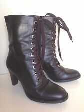 VIA SPIGA COMBAT ANKLE BOOTS DARK BROWN LEATHER LACE UP ITALY Sz 36  / 6 B