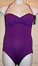 NEW CARMEN MARC VALVO HALTER RUCHED TWIST BOMBHELL ONE PIECE SWIMSUIT PLUM 12