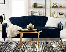 Navy Velour Tufted Upholstered Sofa Sleeper Couch Blue Living Room GLAM!