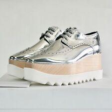 STELLA McCARTNEY wood platform metallic silver Elyse Hackney oxford shoes 41 NEW