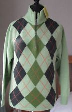 NEW Barbour Ladies 100% Lambswool Argyle Green Jumper Size S