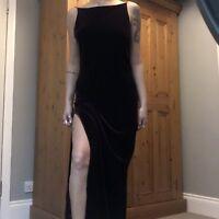 90s Dark Purple Velvet Maxi Long Dress Size 8 Backless Slit Goth Grunge Y2K 00s