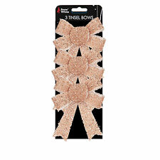 Christmas Tinsel Bow Tree Decoration - 3 Pack Rose Gold 10cm x 13cm
