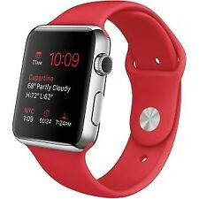 Apple Watch 42mm Stainless Steel Case Accs red Sport Band