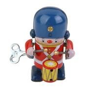 Wind Up Toy Walking Drumming Solider Robot Clockwork Mechanical Tin Toy Gift