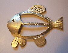 Vtg Ultra Craft Satin Gold Tone Hawaiian? Fish Scarf Slide or Pendant Signed