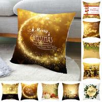 """18"""" Christmas Pillow Cases Throw Car Sofa Cushion Cover Xmas Ornament Home Decor"""