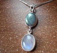 Moonstone and Labradorite 925 Sterling Silver Necklace Corona Sun Jewelry