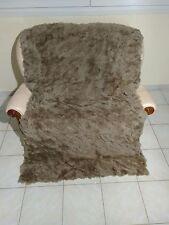 Natural Brown / Gray Rex Rabbit Fur Throw 100% Real Rex Fur Bedspread / Blanket