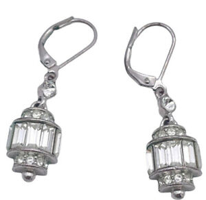 GIVENCHY Clear Swarovski Crystal Dangle Drop Earrings Silver Tone