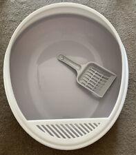 Anti Splash Grey Cat Litter Tray Sifting Toilet Box High Sided Rim Pan Loo Scoop