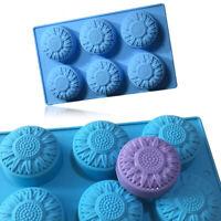 6 Rund Sonnenblume Silikon Muffin Pokale Seife Formen Keks Schokolade Sehr Neue