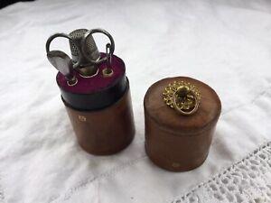 ANTIQUE SEWING GEORGIAN COMPANION SET CUT STEEL TOOLS TINY SCISSORS ETUI 1880