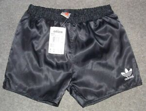 Retro Adidas Genua black nylon silky running football shorts NEW old STOCK