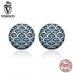 Voroco S925 Sterling Silver Stud Earrings Blue Ocean Romance With Zircon Jewelry