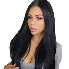 Femmes Noir Longs Cheveux Raides Naturels Complet Perruques Découpage Moyen