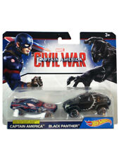 Hot Wheels Captain America Civil War Black Panther Set 1/64 Scale Character Cars