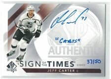 """17-18 SP AUTHENTIC JEFF CARTER """"SIGN OF THE TIMES-INSCRIBED"""" AUTO #SOTT-JC 37/50"""