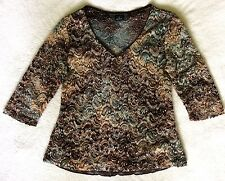 TRIBAL Womens Size M Paisley Lace Knit Top Brown Teal White V-Neck 3/4 Sleeve