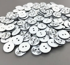 DIY 100pcs Resin Buttons Flowers Pattern Sewing Scrapbooking Crafts 13mm