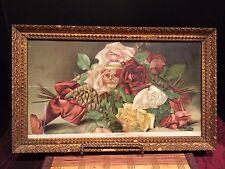 "Antique The Knapp Co Chromolithograph Framed ""Love's Offering"" 18 7/8""x10 7/8"""