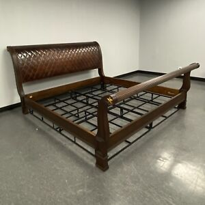 Councill Iberville Mahogany Stitched Leather King Sleigh Bed