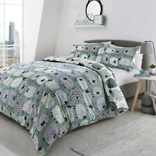 "Fusion ""Dotty Sheep"" Reversible Animal EasyCare Duvet Cover Bedding Set Duck Egg"